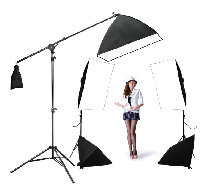 Photo studio bras kit boost 4 softbox kit 1 back light kit 5 pcs 60 w ampoules 3 lumière stand 5 lumière titulaire softbox D'éclairage Haut boîte