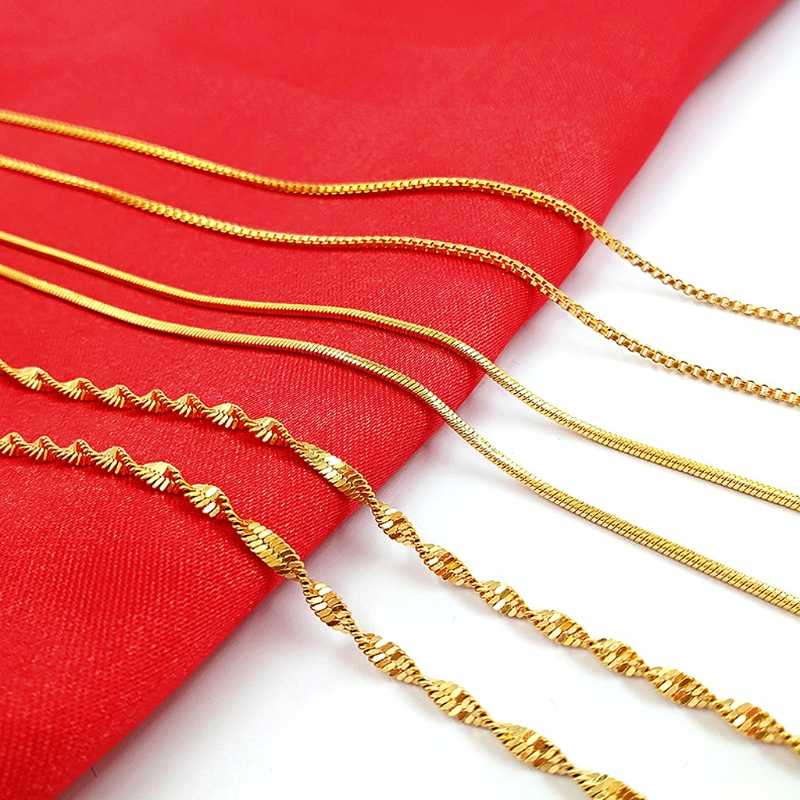 24K Gold All-match Snake Rope Chain Women Premium Fashion Necklace Made Thin For Charms