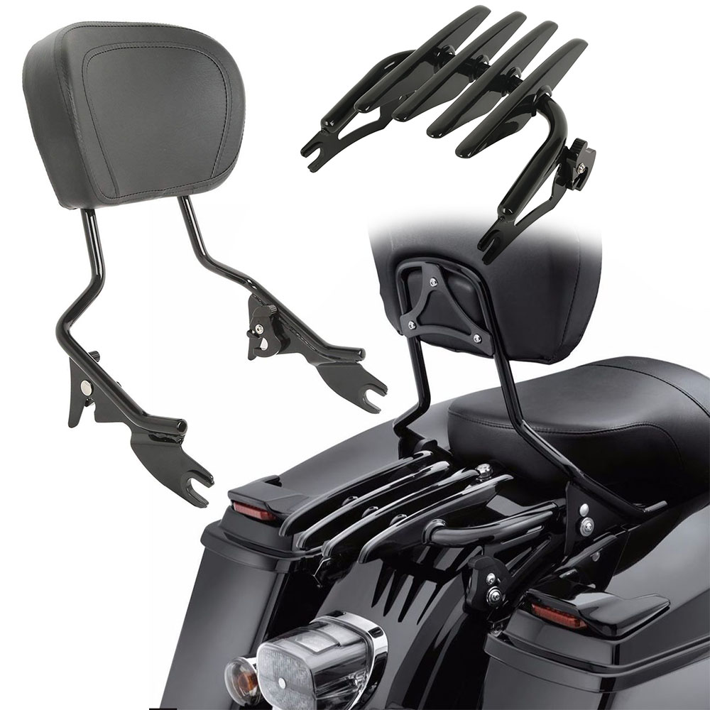 For Touring Road King Street Glide Electra Glide Adjustable Backrest Sissy Bar With Stealth Luggage Rack