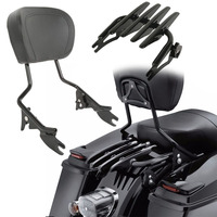 For Harley Touring Road King Street Glide Electra Glide Adjustable Backrest Sissy Bar With Stealth Luggage Rack 2009 2018