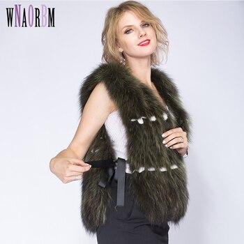 2020Raccoon Dog Fur Vest Real Fur Coat Fashion Women Natural Coats Short Style Real Fox Fur Vest Cute Single size vest