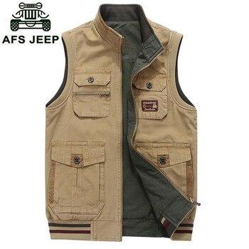 Autumn Vest Cotton Plus Size 7XL Coats Mens Vests Leisure Reversible Waistcoat Man Loose OUTWEAR Tops