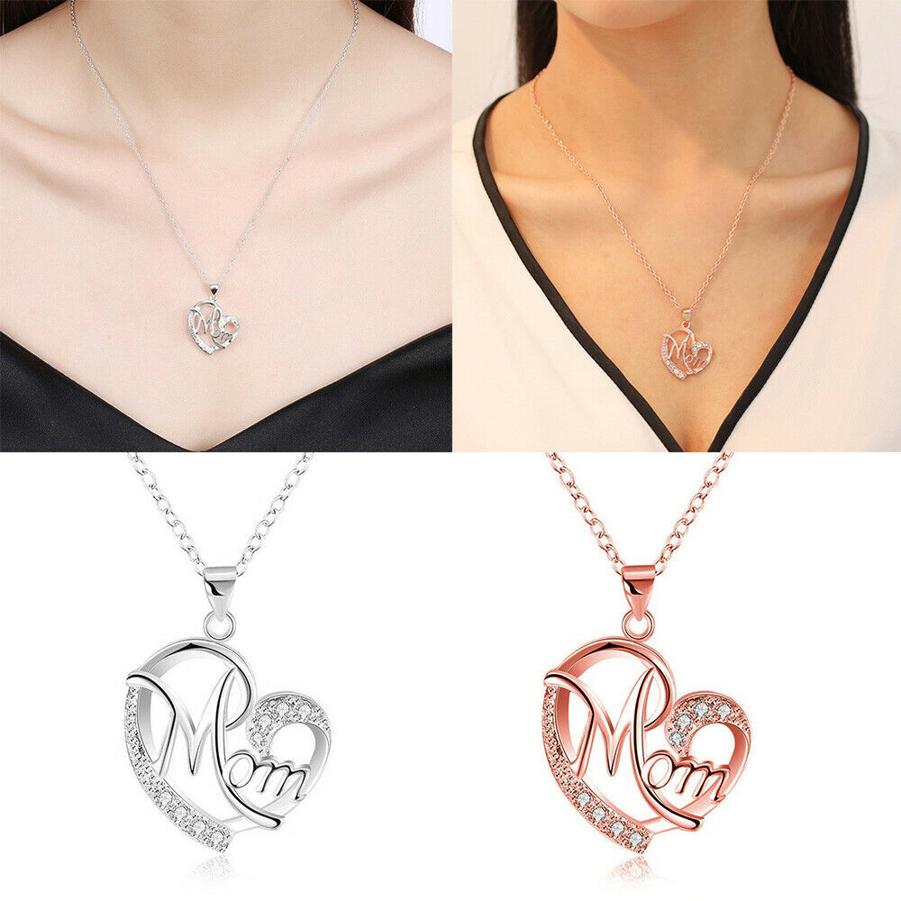 2019 New Fashion Heart Shape Design MOM Pendant Necklace Crystal Mother's Day Gift Beauty Accessories For Woman image
