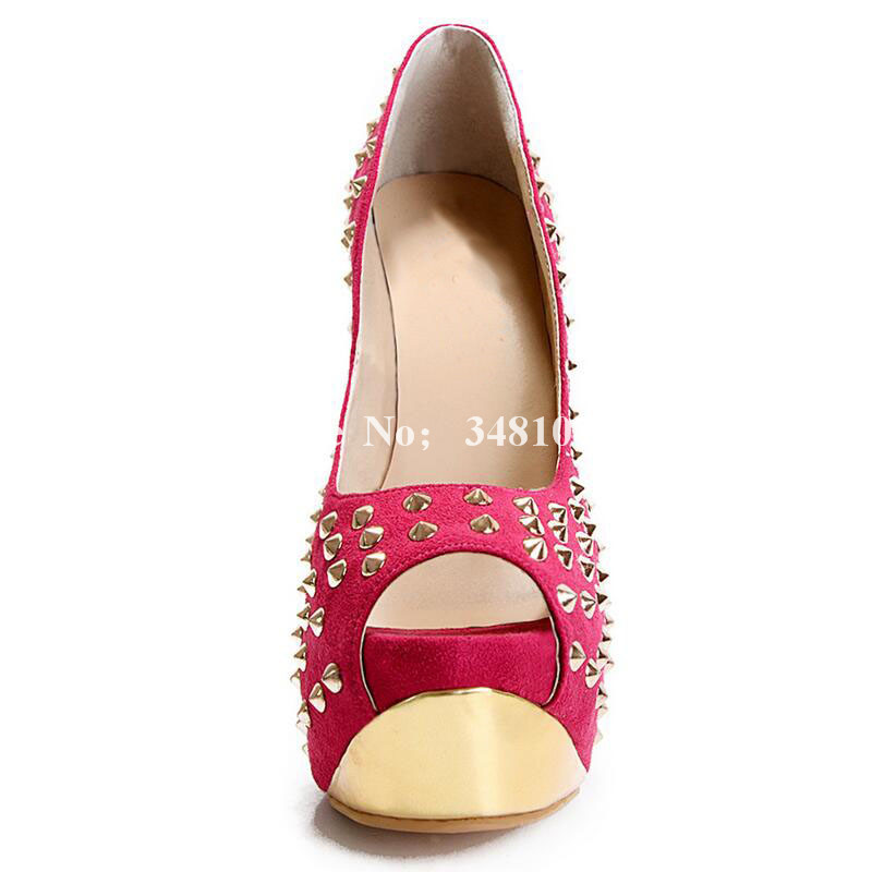 As Schuhe Hohe Toe Fashion Ferse Flach Peep Picture Dünne Sandalen Frauen Flock Wasserdichte Sommer Plattform Sexy Damen Gold Niet 8IqxOwzT5