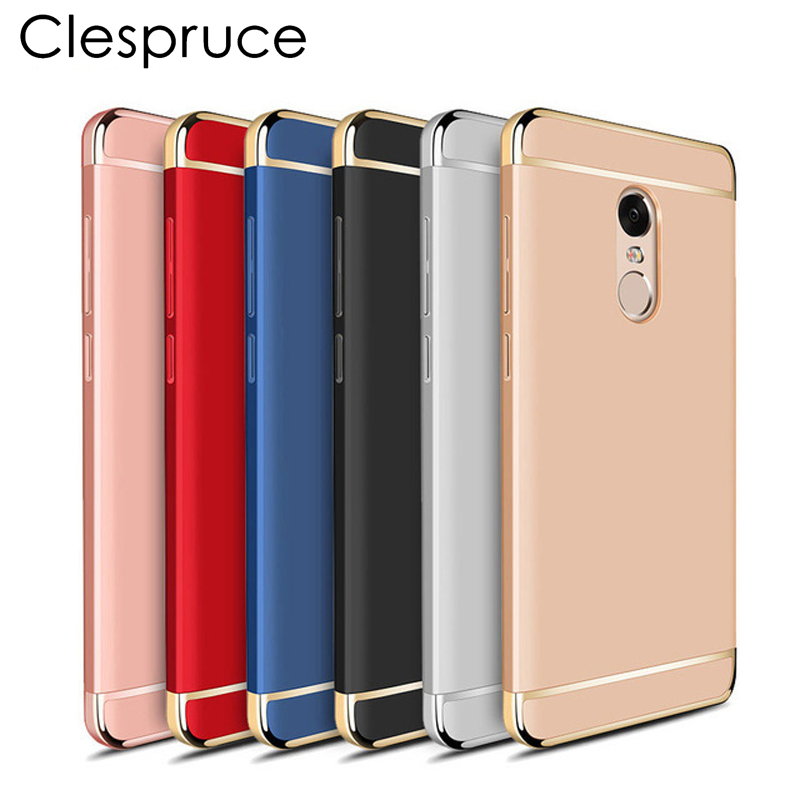 3-IN-1 plastic Plating Phone Case For Xiaomi Redmi Note 4 4X 5Pro Full Coverage PC Protect Hard Back Cover For Redmi 5A 4X note3