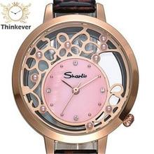 GW1162 SHARLIS Impermeable Encanto Hollow Mujeres Del Reloj de Moda de Cuero Pulseras de Reloj de pulsera de Cuarzo Casual Relojes Relogio Feminino