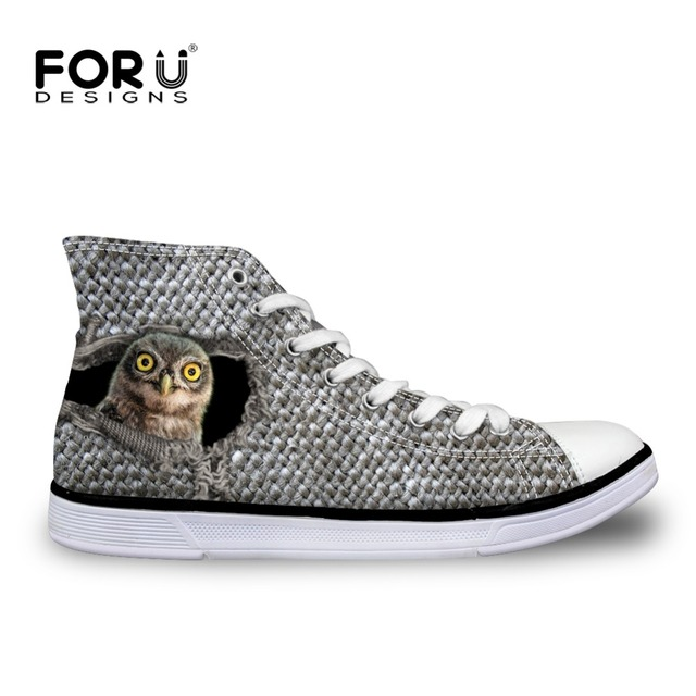 FORUDESIGNS High Top Women's Vulcanized Shoes 3D Cute Animal Owl Cat Pattern Casual Canvas Shoes for Woman Ladies Flats Shoes