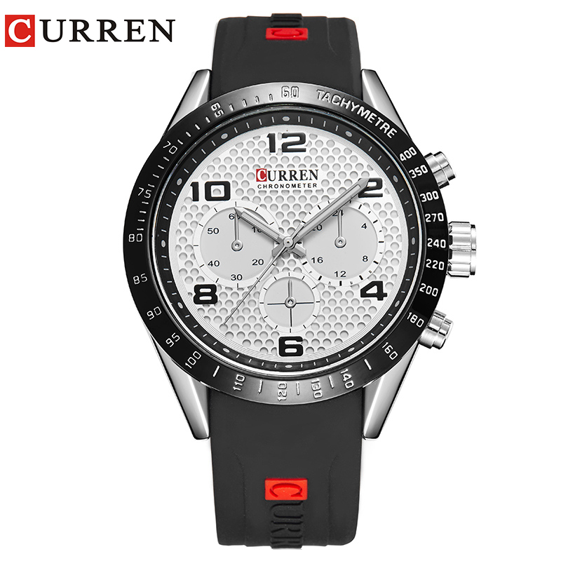 Curren Luxury Brand Genuine Rubber Strap Analog Display Date Men's Quartz Watch Casual Watch Men Watches relogio masculino8167 цена и фото