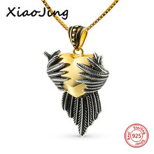 XiaoJing 100% 925 sterling silver diy design love heart wing pendant chain necklace fashion jewelry making for women gifts