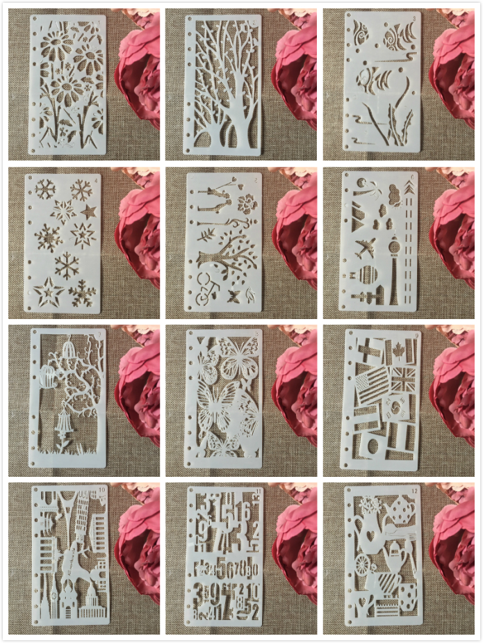 12Pcs/Set A6 Butterfly Wine DIY Craft Layering Stencils Wall Painting Scrapbooking Stamping Embossing Album Paper Card Template