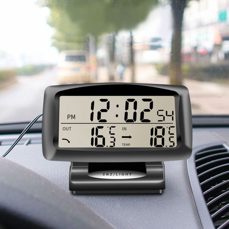 Auto Accessories Electronics Internal and External Dual Temperature Clock Watch Car Thermometer