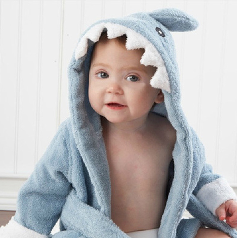 Polyester Hooded Shark Doll Baby  Bathrobe Babies Character Kids Bath Toys Infant Towels Boys Girls Children Blanket Toy T0020