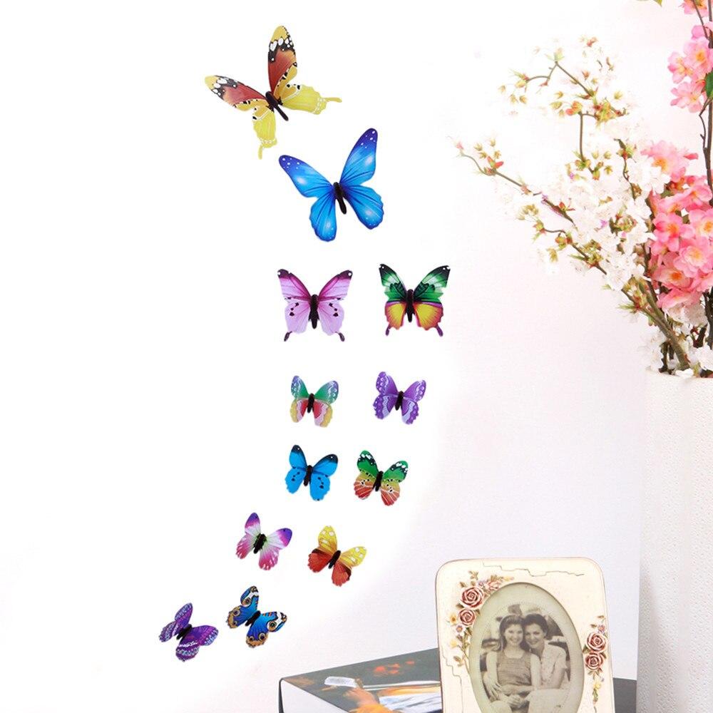 12pcs PVC 3d Butterfly Wall Decor Cute Butterflies Wall