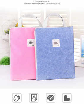 A4/A3 Document Bag Canvas Students Use Zipper Waterproof Large Capacity Handbag Thicken 8K Art Picture Book Bag Multifunction - DISCOUNT ITEM  35% OFF All Category