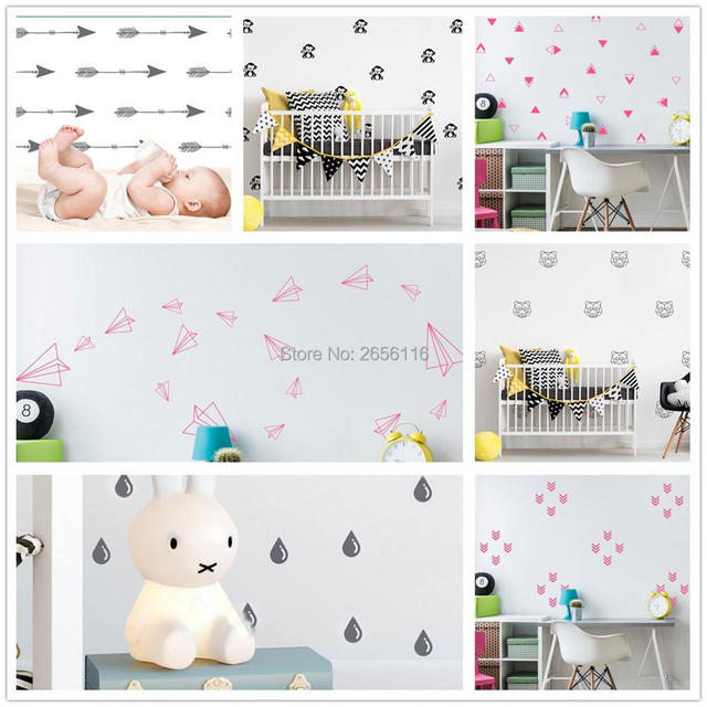 Diy Paper Aeroplane Monkey Raindrop Arrow Nursery Wall Stickers Baby Room Decor Background Decoration
