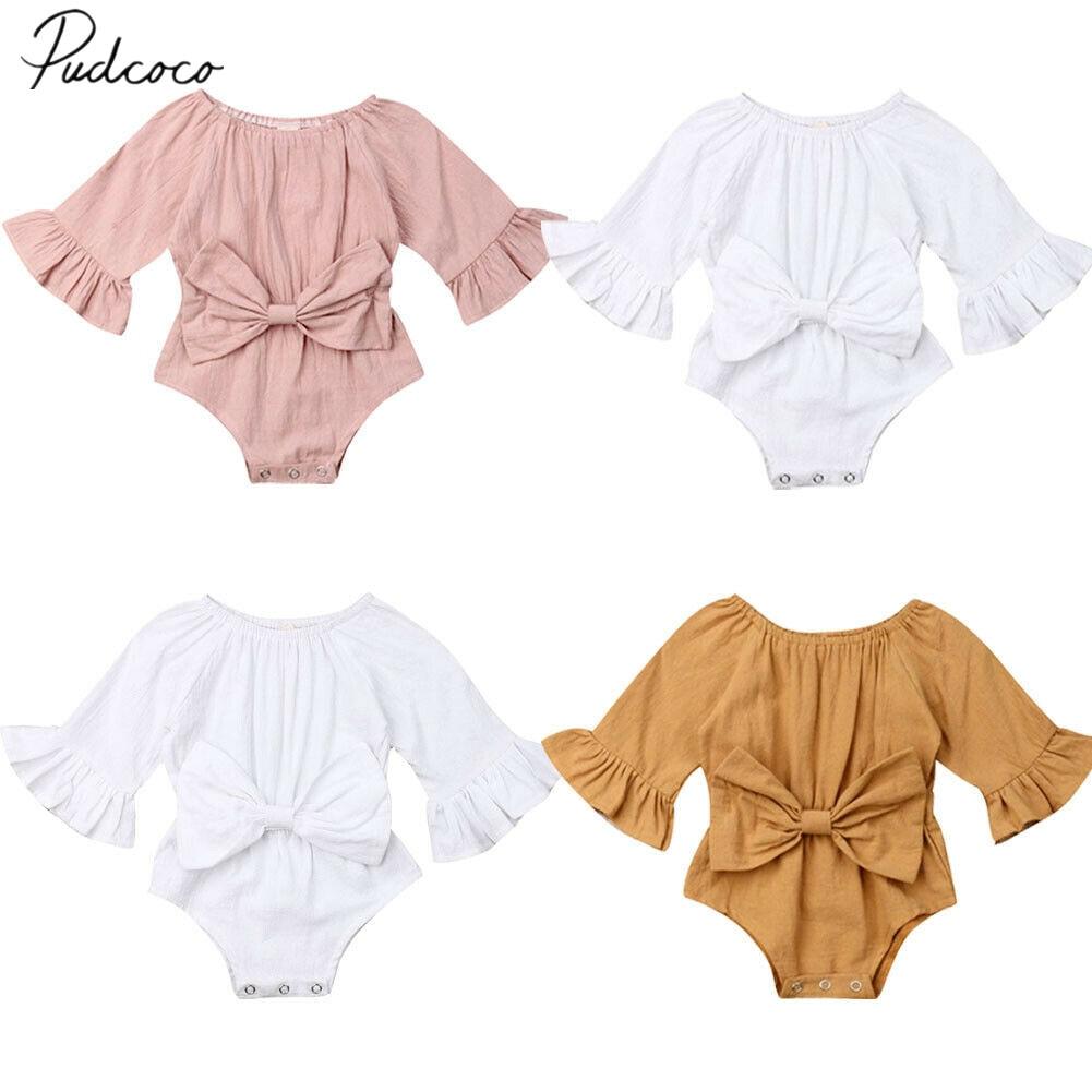 2019 roupas de verão do bebê recém-nascido infantil da menina do bebê bowknot bodysuits roupas alargamento manga longa macacão arco roupa playsuits