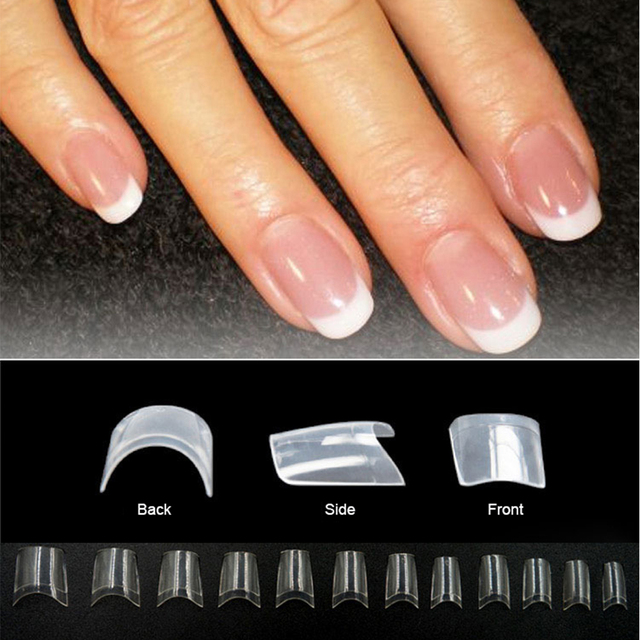 550pcsset Short Design White French Nail Tips 12 Different Size