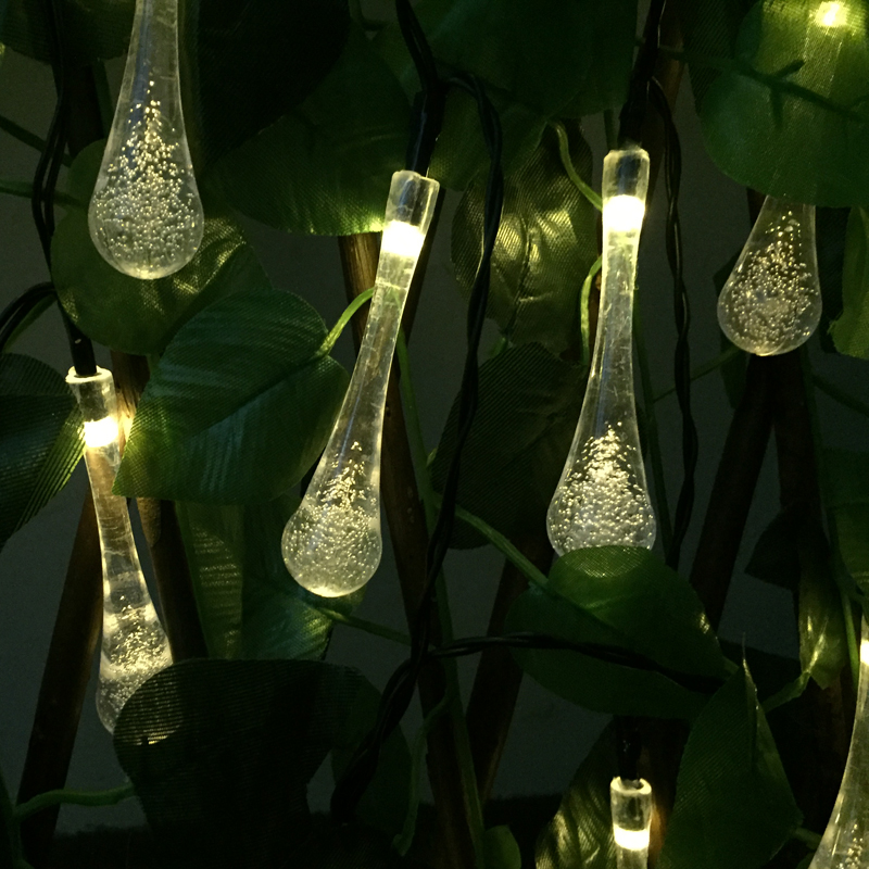 Solar Lamps 6M 30 LED Solar Powered Water Drop String