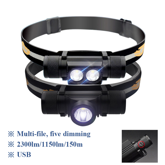 XM L2 Mini Head Lamp Outdoor White Light Headlamp Fishing Head light USB Charge Waterproof Headlight 18650 lampe frontale