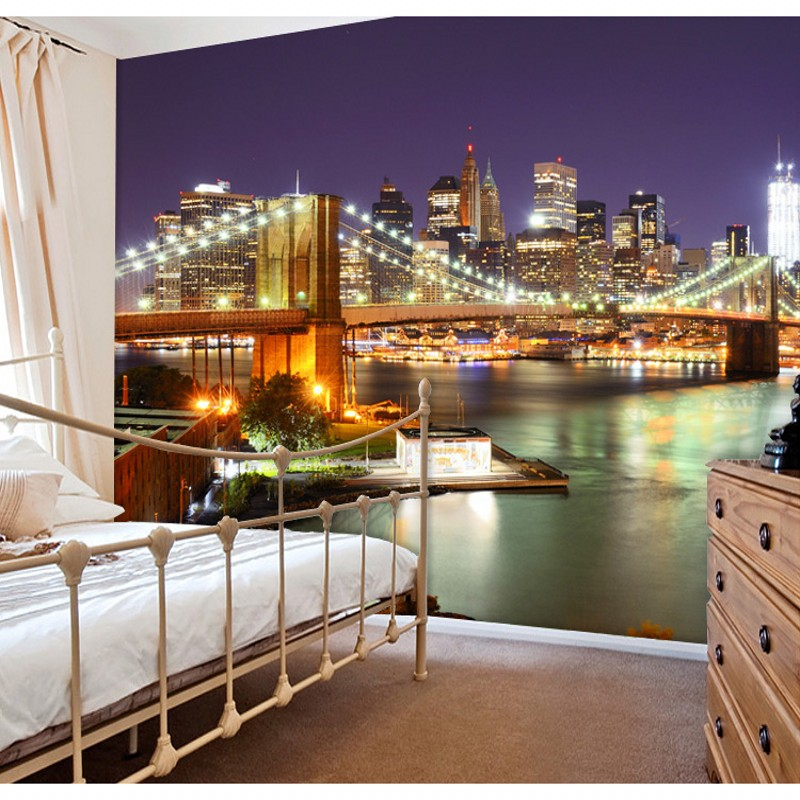 New York City Night 3D living room bedroom wallpaper murals large entrance hallway corridor backdrop personalized custom