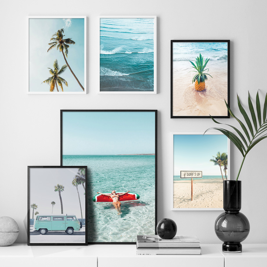 Image 2 - Palm Tree Pineapple Sexy Girl Sea Beach Wall Art Canvas Painting Nordic Posters And Prints Wall Pictures For Living Room Decor-in Painting & Calligraphy from Home & Garden
