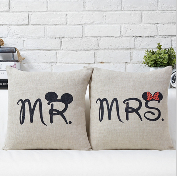 Decorative Cartoon Mr Mrs Cotton Linen Pillow Case Cover Pillowcase for House New