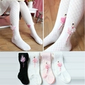 Spring and autumn child ballet pantyhose princess socks grid cutout 100% cotton dance female child knitted socks