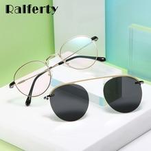 Ralferty Retro Round Sunglasses Women Polarized Magnet Clip