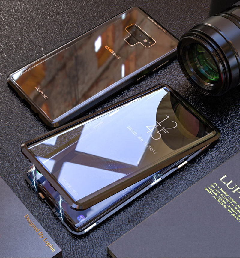 Luxury 360 Double sided front+back glass Magnetic case for samsung galaxy s9 plus note 9 Aluminum metal magnet case cover coque  (9)
