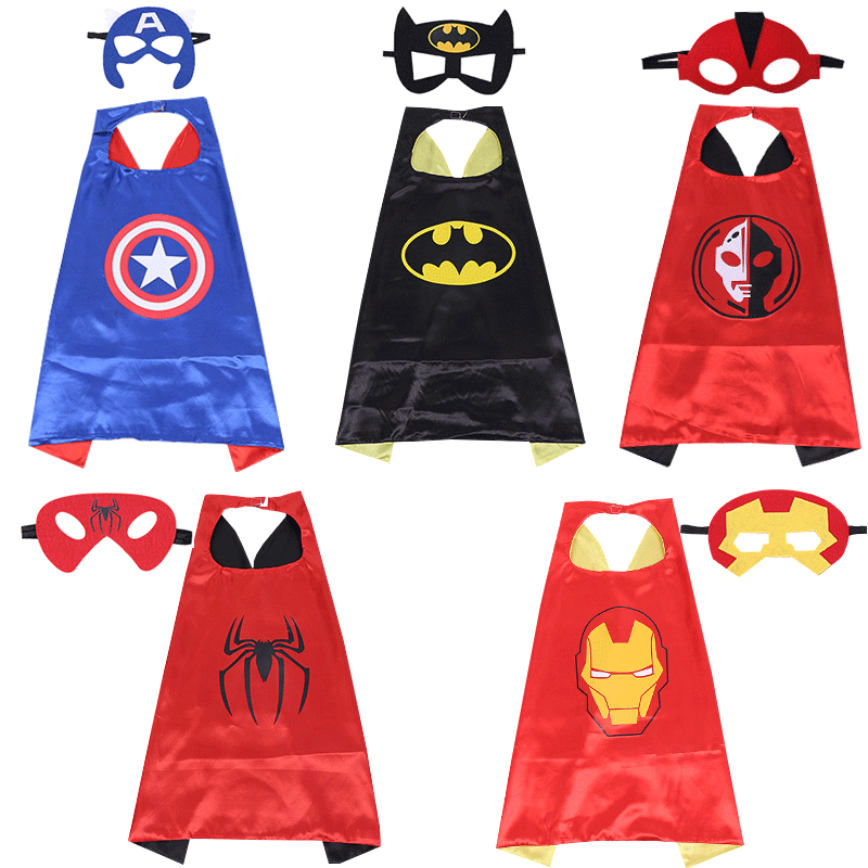 Marvel Avengers Figure Super Heros Cape Shawl For Child Spiderman Homecoming Cosplay Costume Mantle Robe+Eye Mask Childs Day