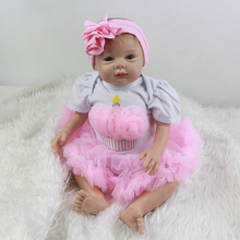 Rooted Mohair Realistic Girl Babies 22 Inch 55 cm Newborn Silicone Doll Toy Handmade Baby Dolls With Dress Kids Birthday Gift