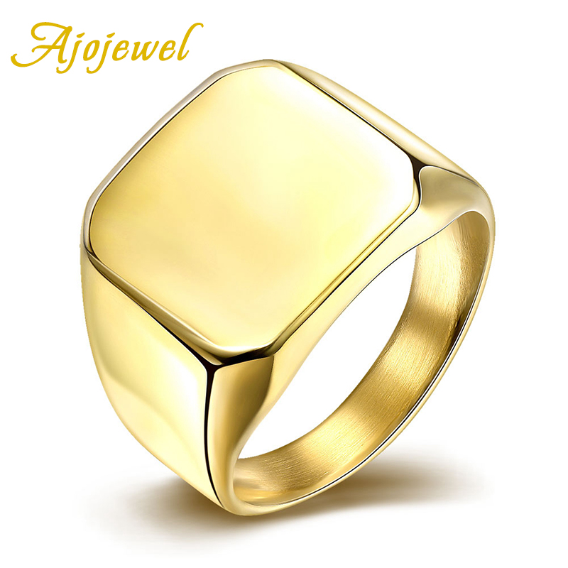 Ajojewel Επωνυμία μέγεθος 7-10 New Fashion Simple 316L Titanium Steel Blank Plain Men Cincin Κοσμήματα