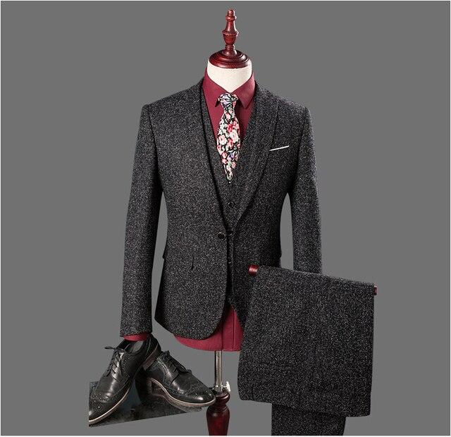 2017 Smokings Feitos Sob Encomenda Dos Homens Slim Fit Ternos Novos Ternos Do Noivo Do Casamento Dos Homens Terno Do Casamento Wear Noivo (Jacket + Pants + colete)