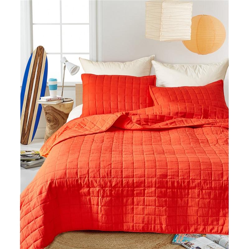 3 sztuk/partia pomarańczowy kolor kołdra poliestrowa zestawy pościeli królowej King Size podwójne łóżko krótki styl kratę narzuta narzuta zestawy XF489 w Zestawy pościeli od Dom i ogród na  Grupa 3