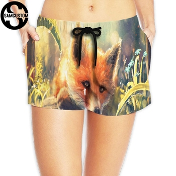 SAMCUSTOM New Women's Quick-drying Beach seaside Casual Shorts Beautiful fox 3D printing Custom Summer Girl Home Shorts