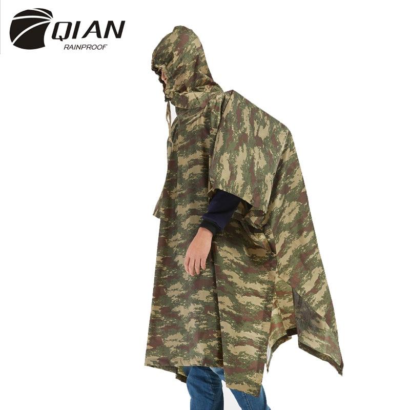 QIAN Impermeable Raincoats Women/Men Jungle Rain Poncho Backpack Camouflage Rain Coat Cycling Climbing Hiking Travel Rain Cover