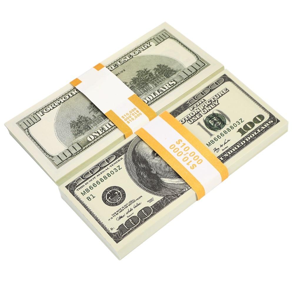 100 Stücke Spielzeug Geld 10,000 Dollar Requisiten Geld Magie Requisiten Werbung & Neuheit Echt Aussehende Neue Kopie Doppelseitige Druck