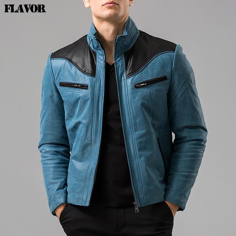 S-6XL Men's Pigskin Blue Real Leather Jacket Genuine Leather Jacket Winter Motorcycle Jackets Men Coat Biker Coats