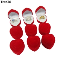 Big Sale 24Pcs Red Heart Shaped Velvet Birthday engagement Ring Box Romantic Valentine's Day Ring Gift Box Cheap Velvet Ring Box