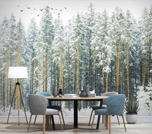 Decorative wallpaper Forest bird scenery background wall(China)