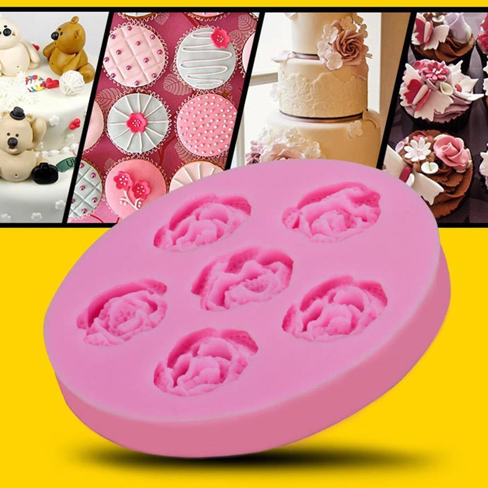 6 roses fondant cake mold silicone mold cake decoration baking tools DIY cake mold(China)