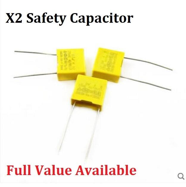 10PCS Safety Capacitor 275V 224K 0.22uf X2 Safety Cap 275V224K 10MM Polypropylene Film 275VAC Capacitors 275V224 Capacitance
