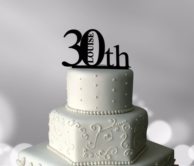 Personalized Acrylic Happy 30th Cake TopperBirthday Party Decorations Accessory Supplies