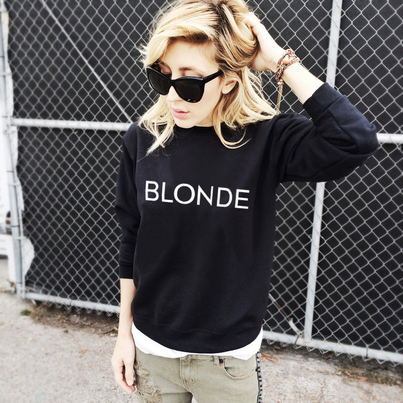 New European American Fall Winter Clothes Women O-neck Pullovers Sweatshirt Long Sleeves Shirt BLONDE Letter Printed Female Tops
