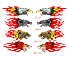 2Pcs Pair Red And Yellow Eagle Wolf Lion Cheetah With Tribal Flames Car Sticker For Truck Window Laptop Decal OCT-20