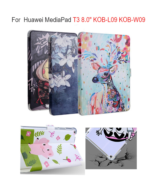 Colorful Painting PU Leather case For Huawei MediaPad T3 8.0 KOB-L09 KOB-W09 smart Cover 8 inch Tablet Funda AUTO Sleep/Wake up fashion case for huawei mediapad t3 8 0 kob w09 kob l09 tablet pc for huawei mediapad t3 case cover