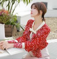 Woman Clothes 2019 Floral Chiffon Shirt Women's Long Sleeve Red New Spring Lantern Sleeve Elegant Women Blouses Tops