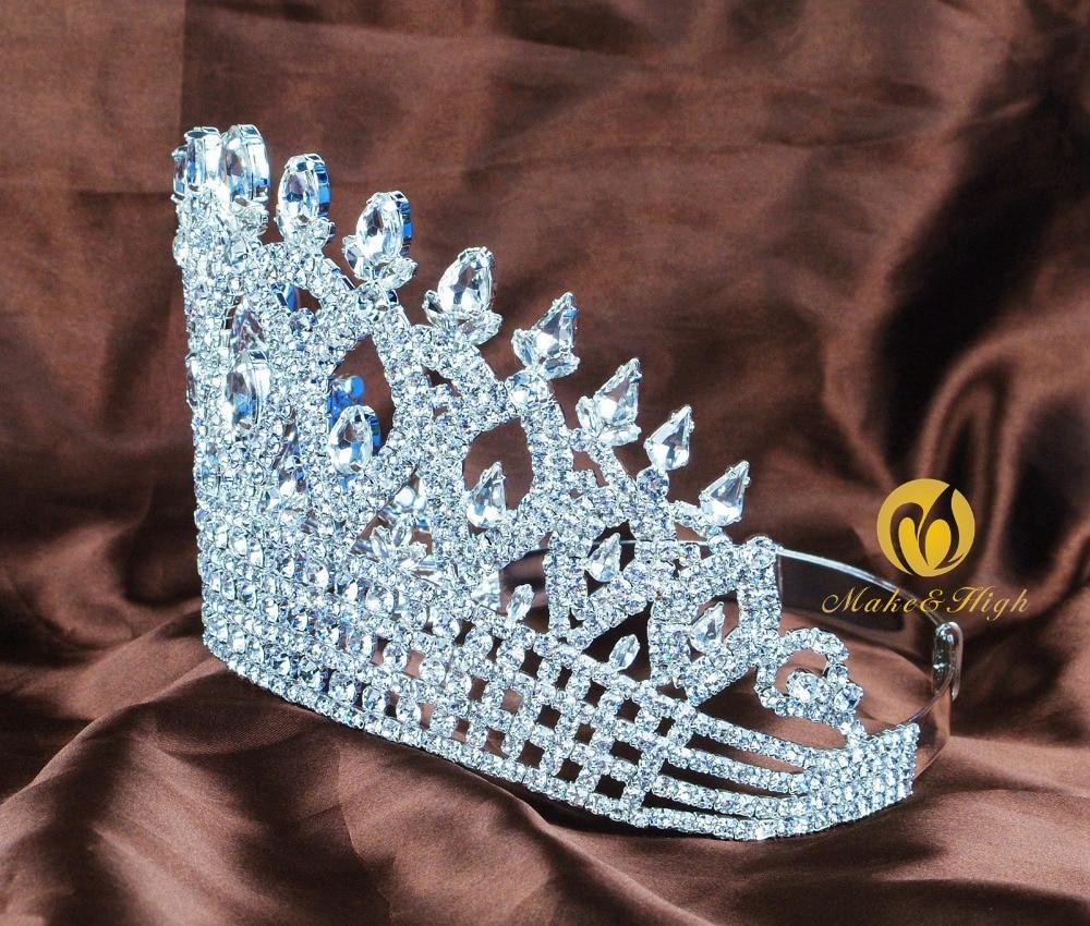 Хрустальные стразы, свадебная корона тиара, диадема, Королевская корона, головной убор, аксессуары для волос, женский свадебный головной уб... - 5