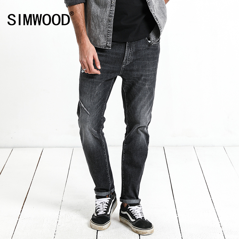 SIMWOOD Brand 2018 Men Jeans New Fashion Casual Jeans Men Slim Jeans Hole Plus Size Long Trousers Hot Sale High Quality 180095 hot sale new arrival men cutout jeans fashion embroidery pencil trousers