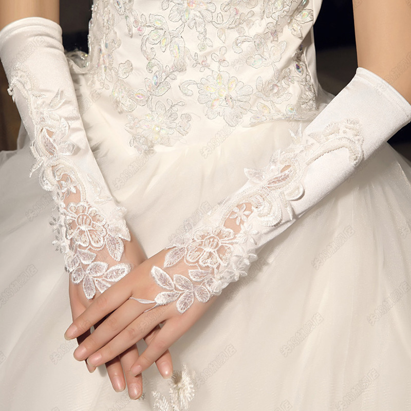 Cheap Wholesale Beading Appliques Bridal Gloves Elbow Length Pearls Fingerless Ivory White Bridal Wedding Gloves